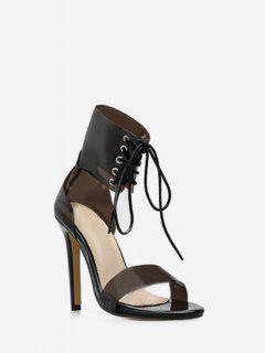 Sandales à Bretelle Transparente à Lacets - Noir Eu 35