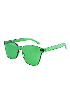 Candy Color Anti UV Square Rimless Sunglasses - Green