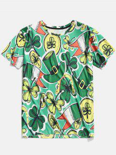 Camiseta De Manga Corta Con Estampado De Tréboles De Sombreros 3D - Verde De Trébol  2xl
