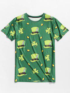 Hats Clovers Print Short Sleeve Slimming T-shirt - Shamrock Green M