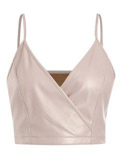 ZAFUL Surplice Faux Leather Cami Top - Blanched Almond M