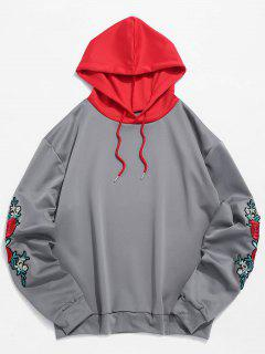 ZAFUL Embroidery Applique Sleeve Drawstring Hoodie - Gray 2xl