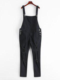 Zip Fly Distressed Denim Jumpsuit - Black Xs