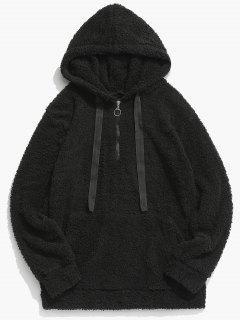 Top Zipper Solid Fluffy Hoodie - Black L