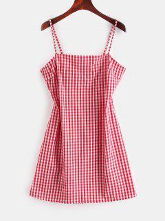 ZAFUL Tie Gingham Cut Out Mini Dress - Red S