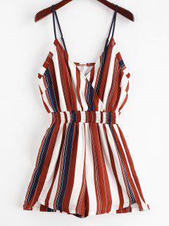 ZAFUL Cami Smocked Stripes Romper - Multi L