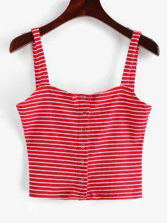 ZAFUL Snap Button Stripes Ribbed Tank Top - Red M