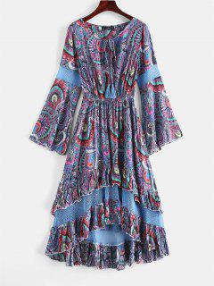 ZAFUL Flounce Flare Sleeve Crochet Panel Dress - Slate Blue M