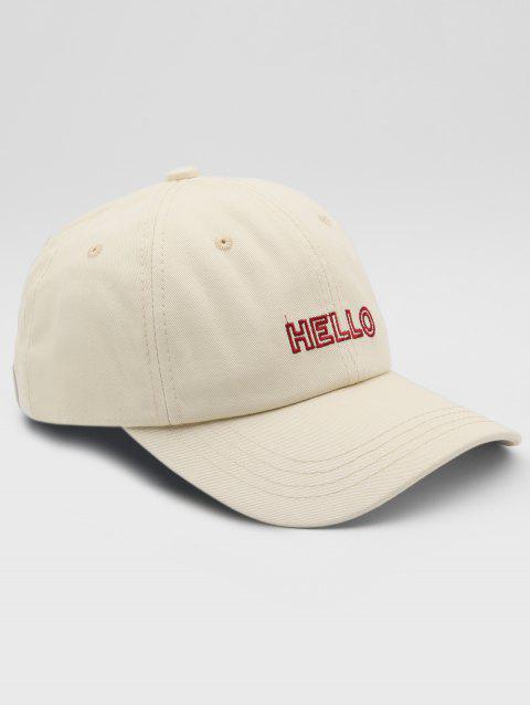 ladies Hello Embroidery Adjustable Street Baseball Cap - BEIGE  Mobile