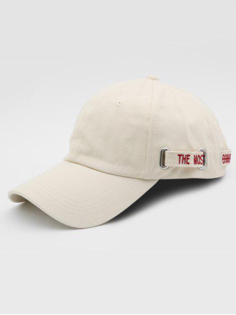online Metal Letter Decoration Adjustable Street Baseball Cap - BEIGE  Mobile