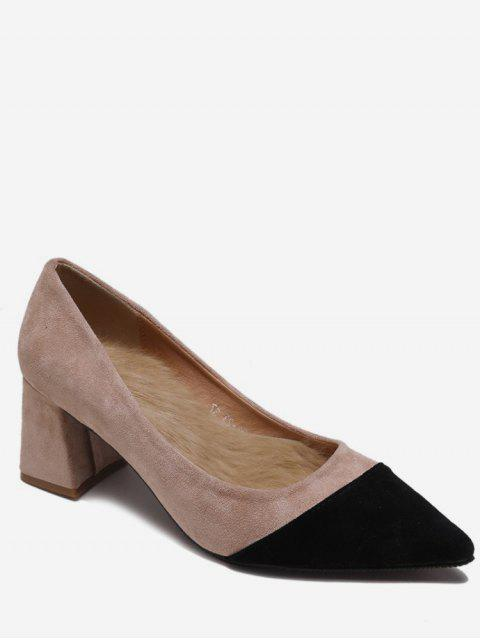 online Two Tone Pointed Toe Suede Pumps - APRICOT EU 35 Mobile