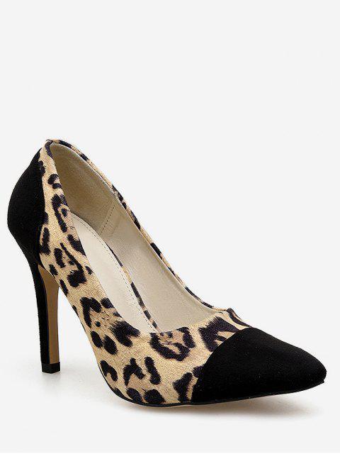 women's Splicing Leopard High Heel Pumps - LEOPARD EU 35 Mobile