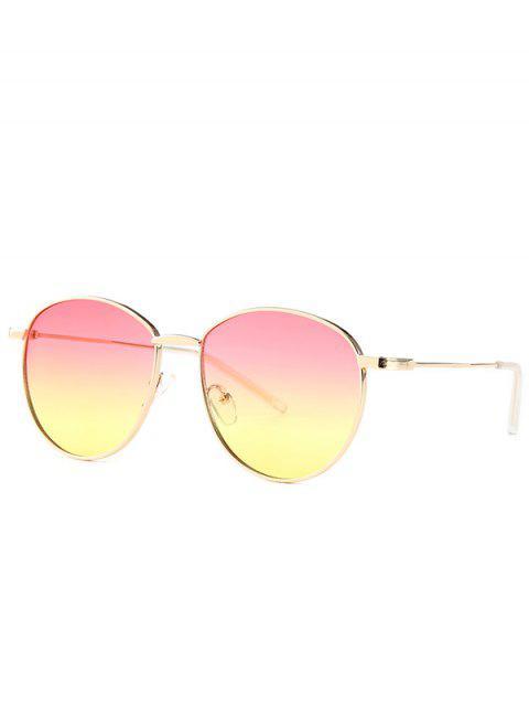 ladies Retro Metal Light Narrow Brim Sunglasses - PINK  Mobile
