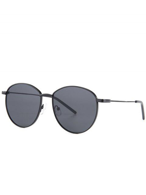 lady Retro Metal Light Narrow Brim Sunglasses - BLACK  Mobile