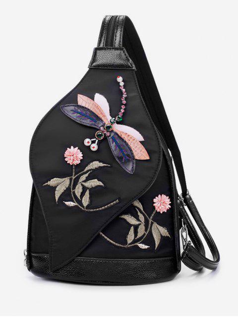 unique Floral Embroidered Nylon Backpack - BLACK  Mobile
