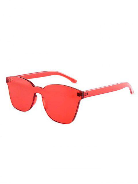 outfit Candy Color Anti UV Square Rimless Sunglasses - RED  Mobile