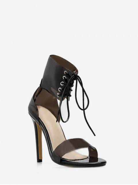 latest Lace Up Clear Strap Heeled Sandals - BLACK EU 35 Mobile