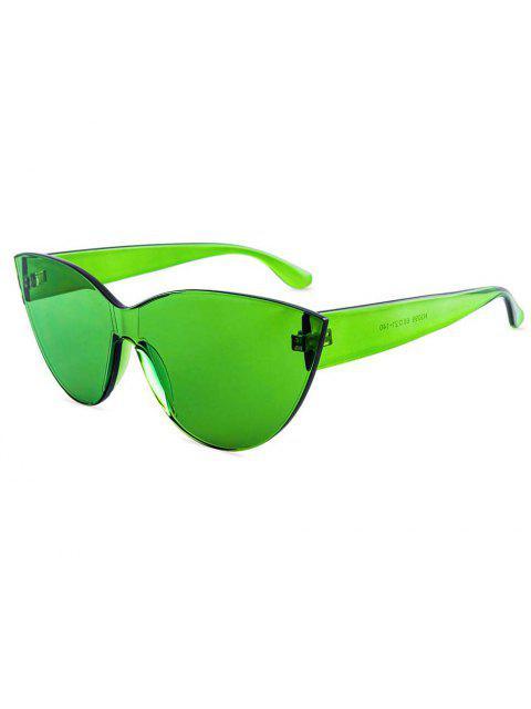 womens Kitty Eye Jelly Color Frameless Beach Sunglasses - GREEN  Mobile