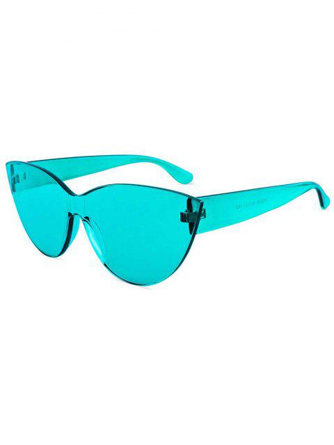 fashion Kitty Eye Jelly Color Frameless Beach Sunglasses - TURQUOISE  Mobile