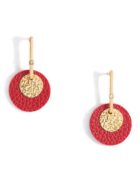 unique Metal Leather Joint Earrings - RED  Mobile