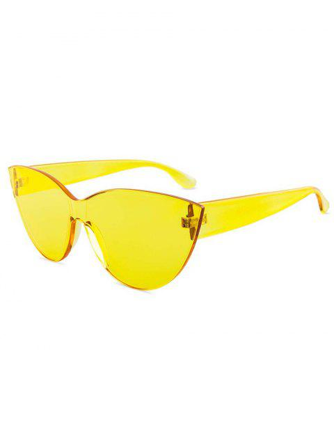 shops Kitty Eye Jelly Color Frameless Beach Sunglasses - YELLOW  Mobile