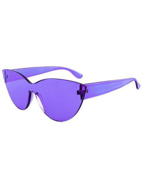 fancy Kitty Eye Jelly Color Frameless Beach Sunglasses - PURPLE  Mobile