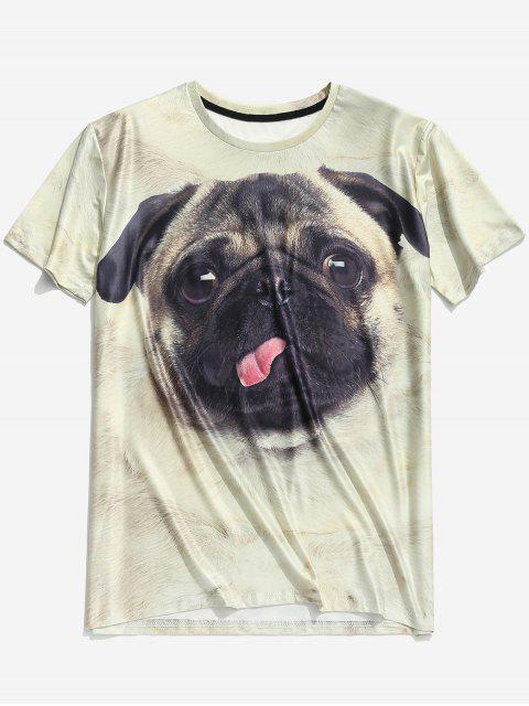 women 3D Cute Dog Print Short Sleeve Elastic T-shirt - WARM WHITE 2XL Mobile