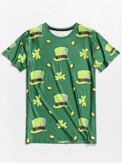 outfit Hats Clovers Print Short Sleeve Slimming T-shirt - SHAMROCK GREEN 2XL Mobile