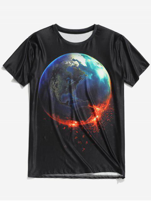 best 3D Earth Print Pullover Short Sleeve T-shirt - BLACK 2XL Mobile
