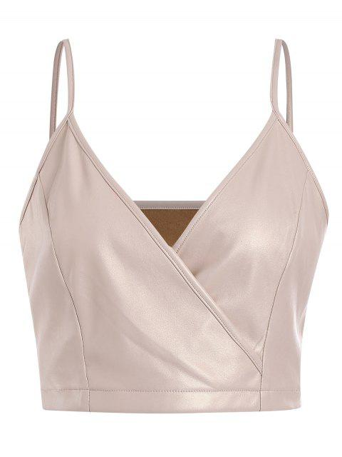 buy ZAFUL Surplice Faux Leather Cami Top - BLANCHED ALMOND M Mobile