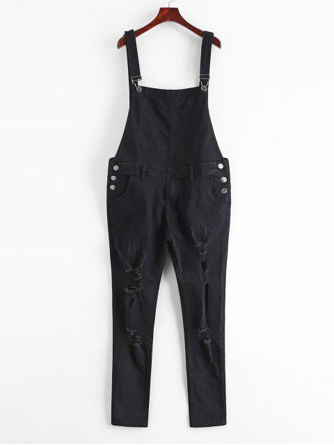 best Zip Fly Distressed Denim Jumpsuit - BLACK M Mobile