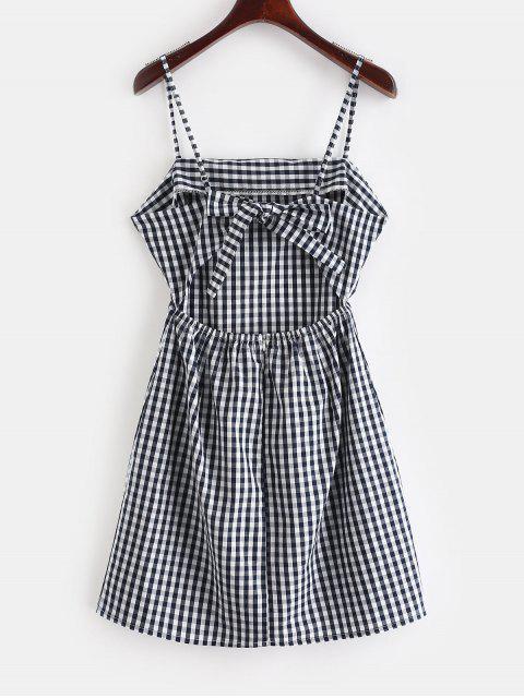 unique ZAFUL Tie Gingham Cut Out Mini Dress - DARK SLATE BLUE L Mobile
