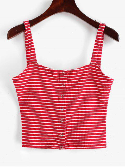 outfits ZAFUL Snap Button Stripes Ribbed Tank Top - RED M Mobile