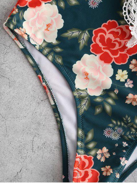 ZAFUL Floral Crochet Criss Cross Cami traje de baño - Multicolor-A XL Mobile