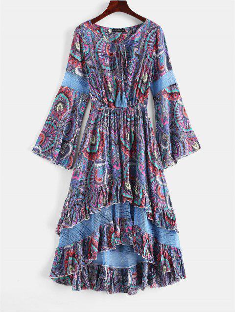 fancy ZAFUL Flounce Flare Sleeve Crochet Panel Dress - SLATE BLUE L Mobile