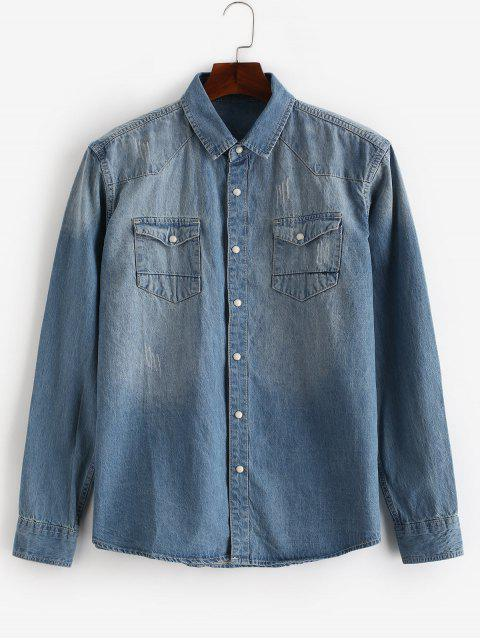 womens Snap Button Pocket Denim Shirt - DENIM BLUE XS Mobile