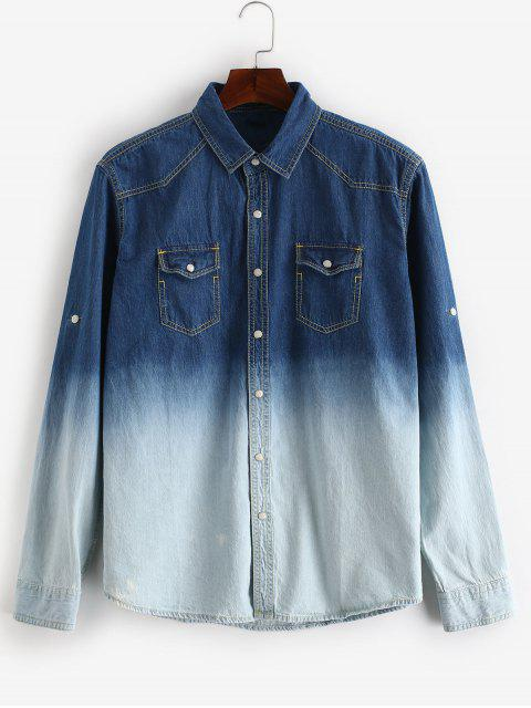 buy Roll Sleeve Ombre Pocket Denim Shirt - DENIM BLUE M Mobile