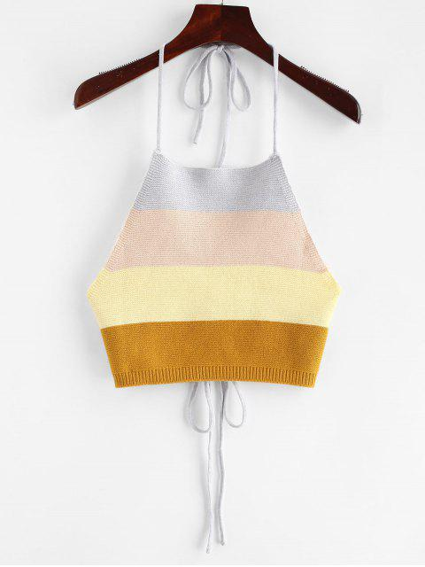 latest ZAFUL Tied Color Block Knitted Tank Top - MULTI S Mobile