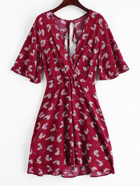 sale ZAFUL Surplice Plunge Backless Short Dress - RED WINE L Mobile