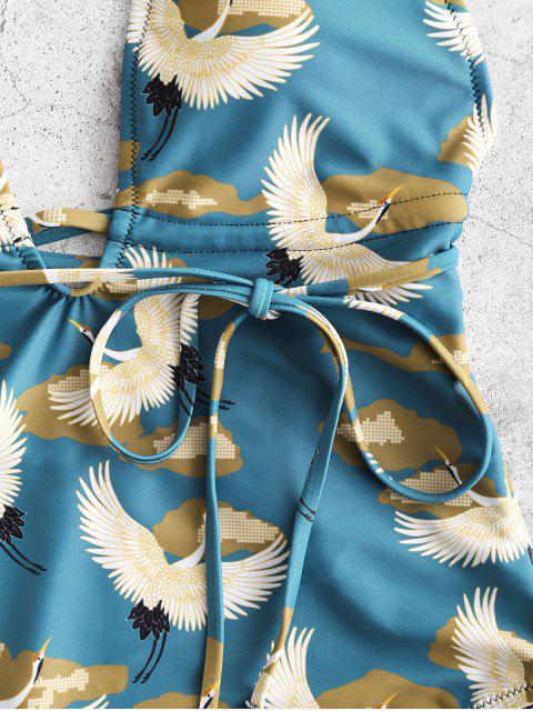 ZAFUL Crane Print Backless Halter Swimsuit - Multicolor-A XL Mobile