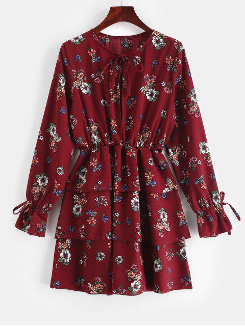 ZAFUL atado mini vestido en capas florales - Ladrillo Refractario S Mobile