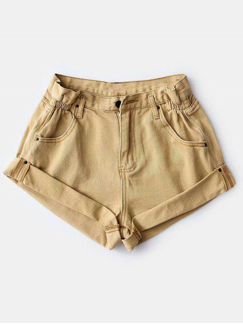 shop Rolled Cuffs High Waisted Denim Shorts - TAN S Mobile