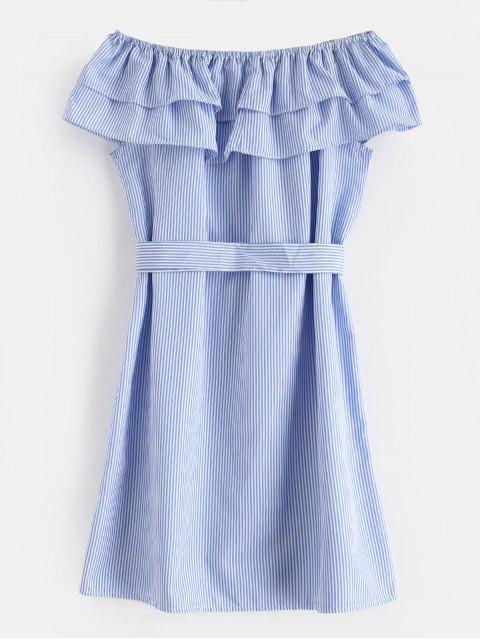 Robe Ceinturée Rayée Nouée à Volants - Bleu Ciel Léger  XL Mobile