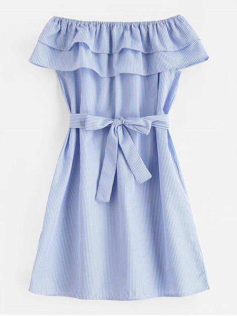 buy Tiered Flounce Striped Belted Dress - LIGHT SKY BLUE S Mobile