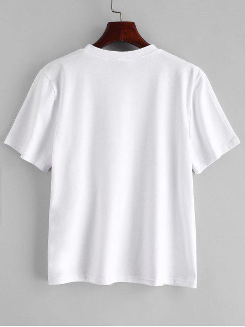 trendy ZAFUL Skeleton Graphic Tee - WHITE S Mobile