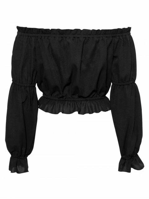 outfit Ruffled Off The Shoulder Crop Top - BLACK S Mobile