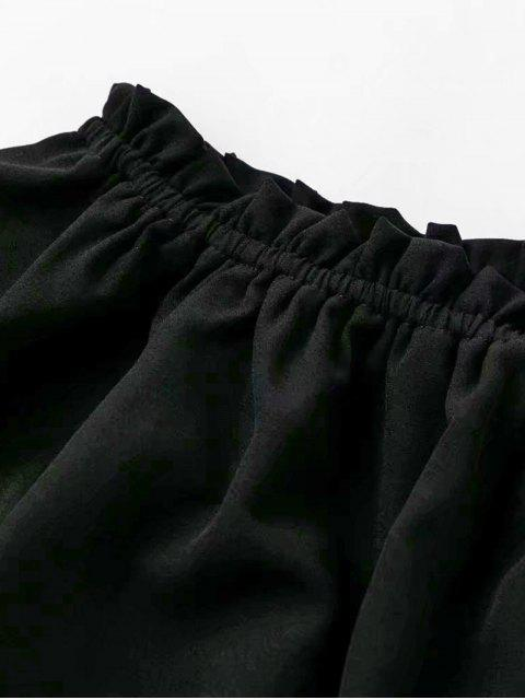 hot Ruffled Off The Shoulder Crop Top - BLACK L Mobile