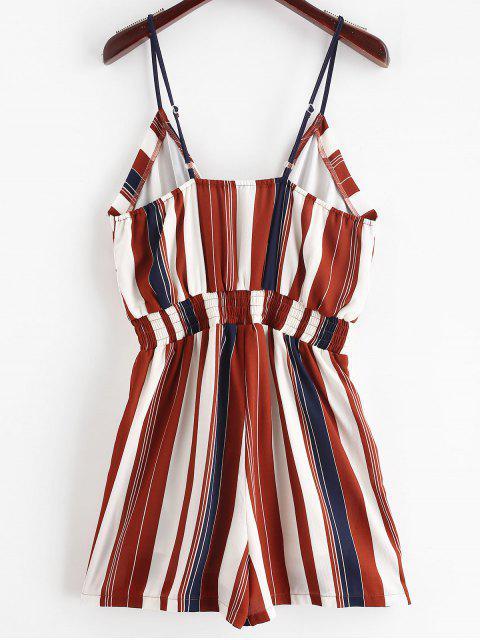 best ZAFUL Cami Smocked Stripes Romper - MULTI S Mobile