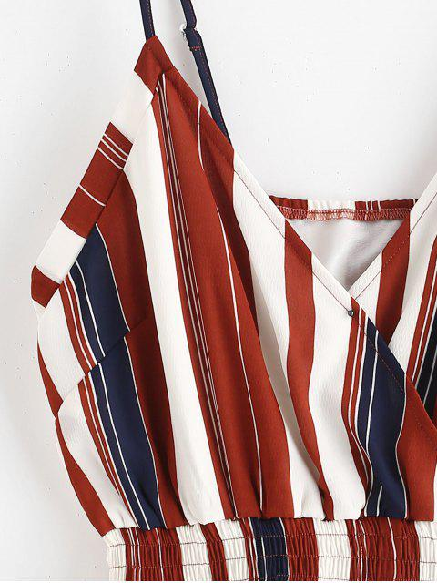 ZAFUL Cami Smocked Stripes Romper - Multicolor L Mobile