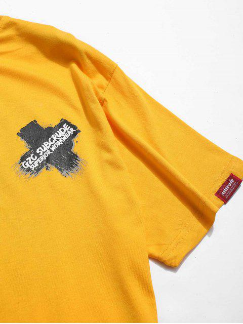Camiseta estampada con letras cruzadas - Amarillo XL Mobile